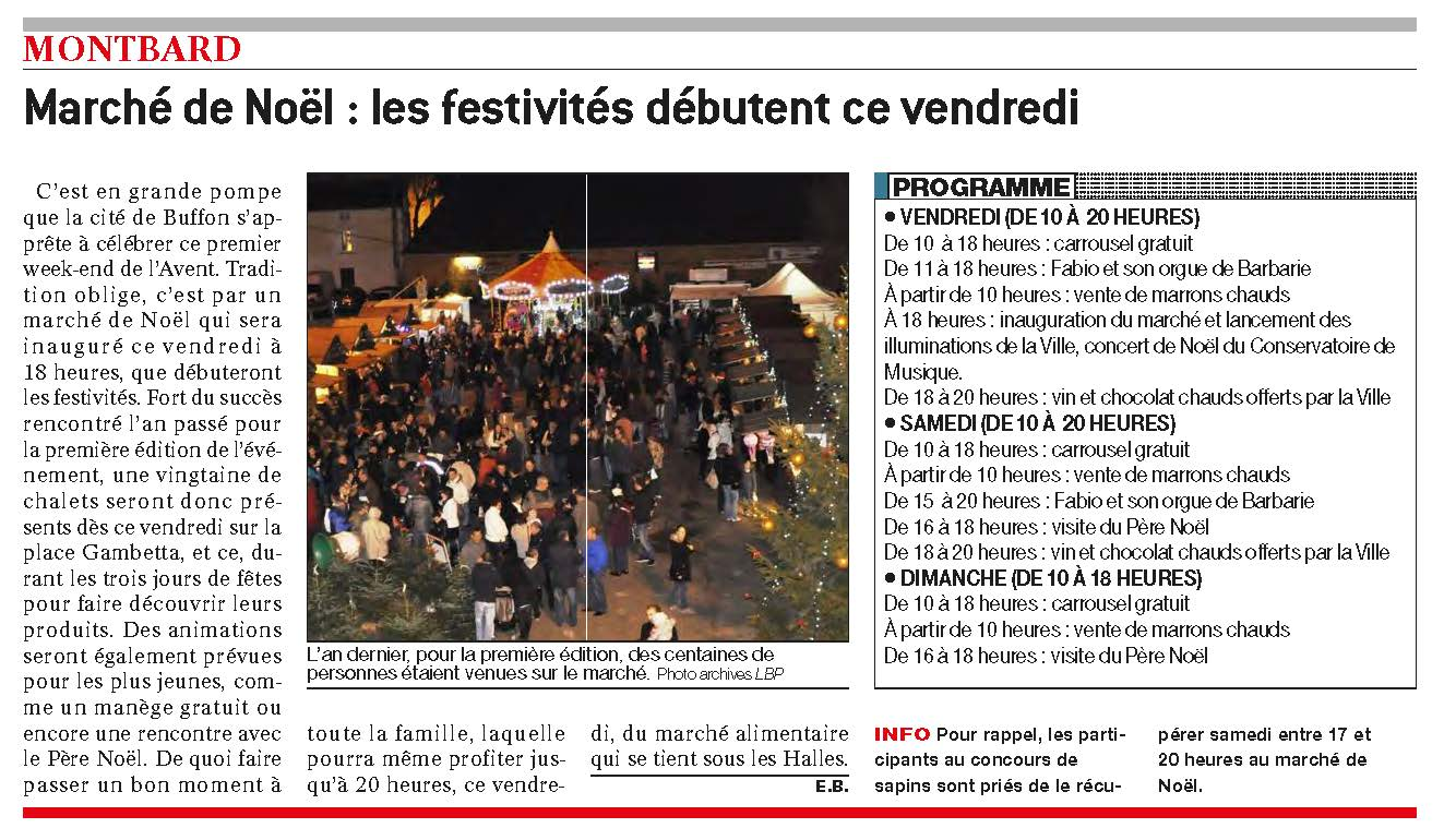 Article BP Marché Noël 2015 Montbard cité de Buffon