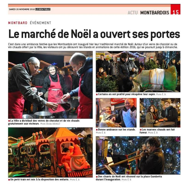 Article BP Marché Noël 2016 Montbard cité de Buffon